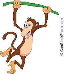 cute monkey cartoon - cute monkey hanging cartoon...