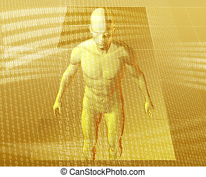 Virtual avatar - Virual avatar body surrounded by digital...