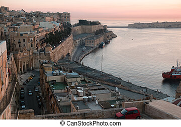 Valetta at sunrise - Ancient walls and streets of Valetta-...