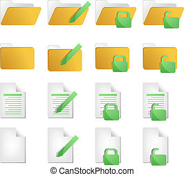 Document icons - Document folder icon set, with different...