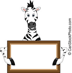 cute zebra cartoon with blank sign
