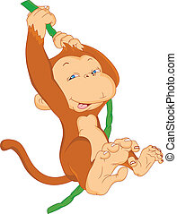 cute monkey hanging illustration