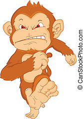 angry monkey cartoon illustration