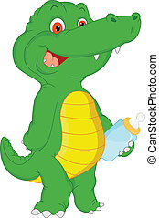 baby crocodile cartoon with smoother