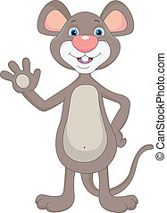 cute mouse waving illutration