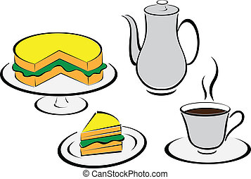 tea set and bread illustration