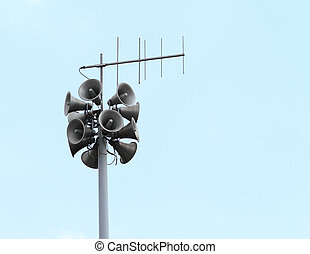 Loudspeakers - Lots of loudspeakers on a tall column