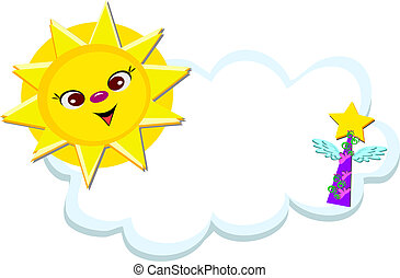 Smiling Sun with Star Wings