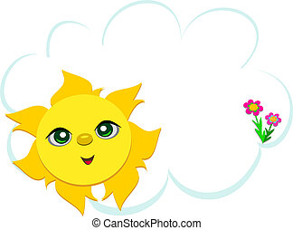 Sun with Cloud and Flowers