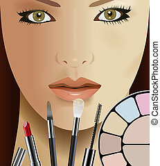 make up - Vector Beautiful Woman and Makeup Kit, Eps 10...