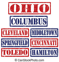Ohio Cities stamps - Set of Ohio cities stamps on white...