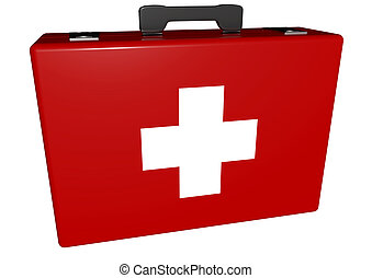 medical case - a red medical case with white cross