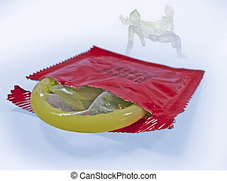 Condom with wrapper