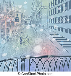 winter Christmas color sketch of a landscape the Bridge of Sighs in Venice