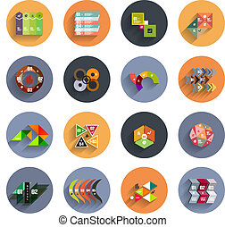 Infographic inside colorful circles Flat icon set -...