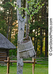 Old wooden well, close up