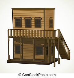 House for town in the Wild West - wooden two-story light...