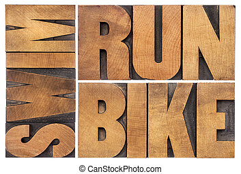 run, bike, swim - triathlon concept - isolated word abstract...