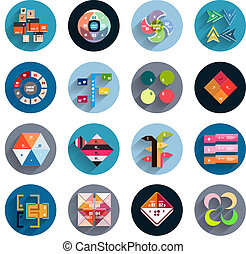 Infographic inside colorful circles. Flat icon set -...