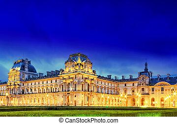 Louvre, Museu, setembro, noturna, vista, Paris,...