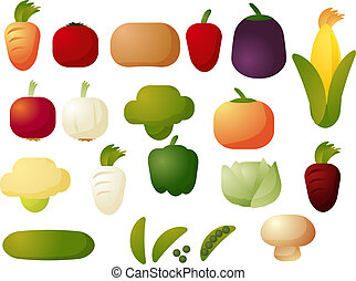 Vegetable icons - Assorted raw vegetable icons, chubby cubed...