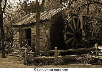 water wheel, Grist Mill - Sepia Tone water wheel cabin