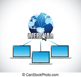 laptop webinar network illustration design over a white...