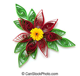 Paper flower isolated on a white background.