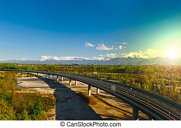 Sunrise - The Modern Highway in Piedmont on the Background...