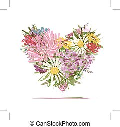 Floral summer bouquet, heart shape for your design