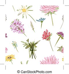 Garden flowers, seamless pattern for your design