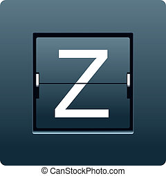 Letter Z from mechanical scoreboard. Vector illustration