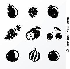 set of fruit - black and white set of fruit