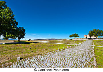 Rural Church - Small Rural Church on the Background of...