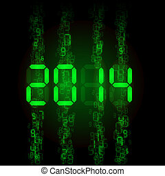 Digital 2014 numerals. - New Year 2014: green digital...