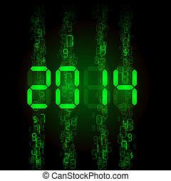Digital 2014 numerals. - New Year 2014: green digital...
