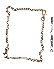 Chain frame - Frame made from steel chain isolated on white...
