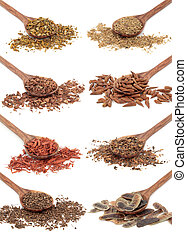 Medicinal Herbs - Medicinal herb selection in olive wood...