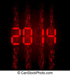 Digital 2014 numerals - New Year 2014: red digital numerals...