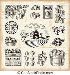 Vintage apple harvest set - A set of fully editable vintage...