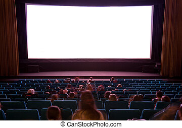 Cinema interior with people - Cinema auditorium with line of...