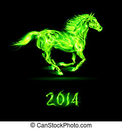 New Year 2014: fire horse. - New Year 2014: running green...