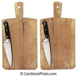 corte, madera, viejo, tabla, cuchillo