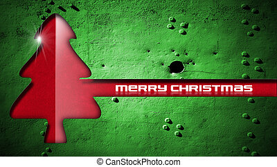 Red Christmas Tree on Grunge Background