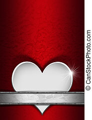 Romantic Floral Red and Silver Background - Stylized white...