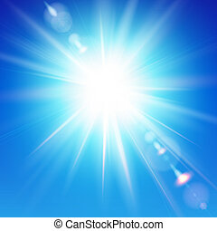 The bright sun shines on a blue sky background Vector...