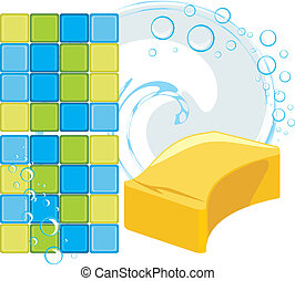 Mosaic tiles and sponge with soapy