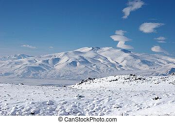 Winter mountain near Mount Ararat, Turkey
