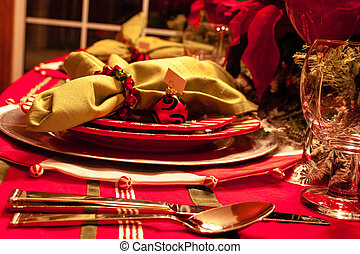 Christmas Dinner Table - Decorated Christmas dinner holiday...