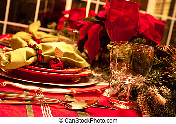 Christmas Dinner Table - Table scape set for Christmas...